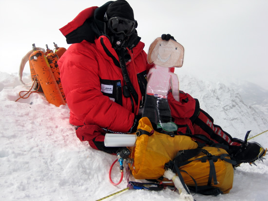 Rob Hill with Flat Selena on the South Summit of Everest